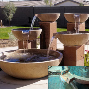 Wok Shaped Concrete Landscape Scupper Bowls