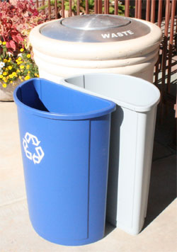 Outdoor Concrete Recycle/Waste Combination Receptacles
